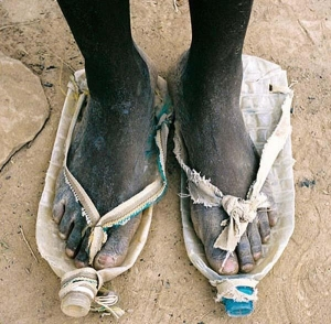 Shoes from drink bottles - a drastic (but impressive) African solution