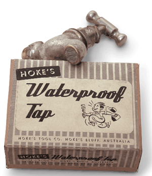 Hoke's waterproof taps were a brilliantly conceived water conservation measure but sadly the so-called market could not see their superiority.